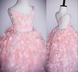 Wholesale Cute Little Girl Baby Images - Cute Little Flower With Pearls Beaded Girls Pageant Dresses 2017 Ball Gown Backless Cross Straps Flower Girl Dresses For Wedding Baby Gowns