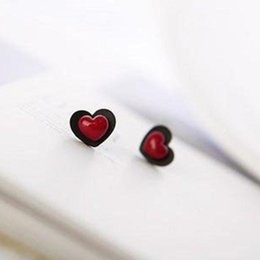 Wholesale Heart Dangle Love Red - Black Side Red Peach Heart Lovely Love Stud Small Fashion Earrings(Red) E175