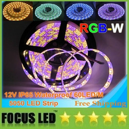 Wholesale Led Meter Roll - DC12V 5050 RGBW LED strip 60LEDs meter 5m roll IP65 waterproof 5050 LED strip RGBWW flexible led stirp Free shipping