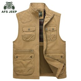 Wholesale Collared Military Vest - Fall-100% Cotton Multi-Pocket Cargo Vest Size 4XL Mens Outdoor Brand Casual 2015 Fall Men Military Hunting Waistcoat Jacket