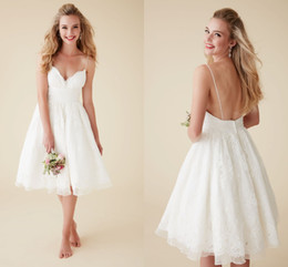 Wholesale Short Dress V Neck Spaghetti - Cute Short Beach Wedding Dresses V Neck Spaghetti Straps Knee Length Sexy Backless Wedding Gowns Organza Lace Bridal Dresses