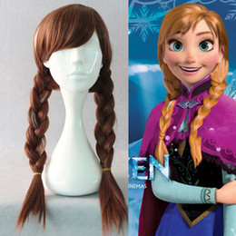 Wholesale Party Princess Brown - adult anna wig princess anna cosplay accessories brown women party halloween accessories for women long wigs wholesale