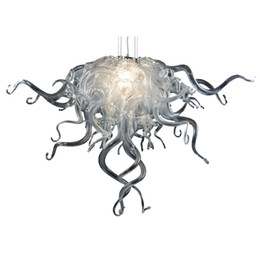 Wholesale Cheap Hanging Decorations - 100% Handmade Blown Glass Black Chandelier Modern Art Decor Home Decoration White Clear Glass Small and Cheap Hanging LED Chandelier