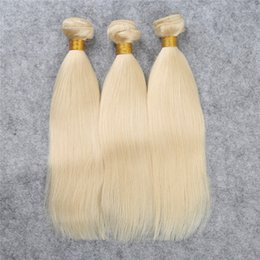 Wholesale Bleaching Machine - #613 Lightest Blonde Weave Straight 3pcs Lot Brazilian Remy Hair Bundles Double Machine Weft Blond Human Hair Extensions