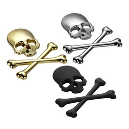 Wholesale Motorcycle Mirrors Skulls - 3D Skull Metal Skeleton Crossbones Car Motorcycle Sticker Label Skull Emblem Badge car styling stickers decal accessories