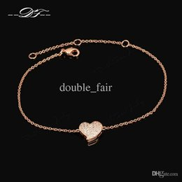 Wholesale Micro Links Wholesalers - Micro insert technology Heart 18K Rose Gold Plated Chain Bracelet Jewelry Made with Genuine Austrian Crystals & CZ Diamond Wholesale DFH188