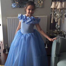 Wholesale beauty pageant accessories - Nuevo bebé cenicienta Blue Flower Girl Dresses Prom vestido de bola girls Beauty Pageant Beautiful Kids Formal Accessories