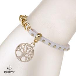 Wholesale Wholesale Velvet Material - 2017 hotsalling white wristbands I SHOW brand designer gold plated link chian velvet material life tree charm bracelets