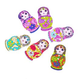 Wholesale Russian Dolls Buttons - Wooden Buttons Russian Doll Two Holes Sewing Buttons Random Mixed For Crafts Decoration Collections 3x1.7cm Pack Of 50pcs I447L