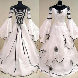 Wholesale Black Renaissance Dresses - Renaissance Medieval Vintage Black And White Lace Organza Off Shoulder Victorian Wedding Dresses Long Sleeves Applique Bridal Gowns EN10068