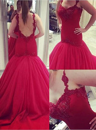 Wholesale Empire Red Sweetheart Mermaid - Fashion Red Long Mermaid Evening Dresses Spaghetti Strap Sweetheart Organza Crystal Evening Gowns Sweep Train Special Occasion Party Dress