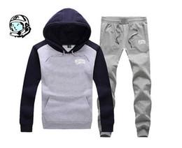 Wholesale Velvet Men Sport Pants - Free shipping new autumn winter plus velvet warm hoodie sweat pants sport suit (coat+pants) BBC Tracksuits