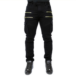 Pantalones vaqueros verdes para hombre online-2018 corredores pantalones de Jean rockstar mens ropa de diseño verde en dificultades jeans rasgados motorista hombres hiphop pantalones flacos delgados elásticos
