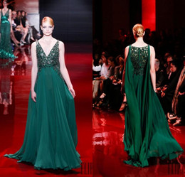 Wholesale Green Elie Saab - Elegant Green Prom Dresses Chiffon Beaded Sequined V-neck A-line Elie Saab 2016 Evening Gowns With Watteau Floor Length Formal Party Dress