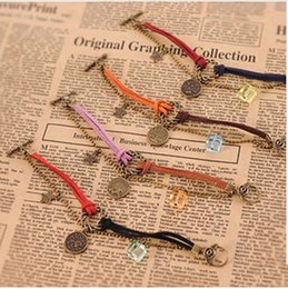 Wholesale Gift Wrapping Singapore - Infinity Bracelet 12 Horoscope Vintage Weave Bracelets Antique Charm Braided Wrist bands Jewellery Casual Adjustable Wrap Gifts for Women