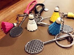 Wholesale Wholesale Purse Decorations - Fashion Mini 3D Badminton Keychain Colorful Decoration Badminton Key Chain Keyfob For Car Key Ring Bag Purse Sports Gifts 4 Styles B771L