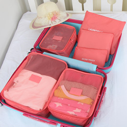 Wholesale Bag Cube - FREE DHL SHIPPINGG 6pcs Packing Cubes with Shoe,clothing,cosmetic Bag Compression Travel Luggage Organizer Underwear Drawer Divider Closet