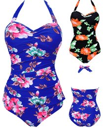 Wholesale Hanged Neck Sexy - Sexy Women One Piece Flower Print Summer Style Halter Hanging Neck Swimsuit Push Up Bathing Suit Bandage Swimwear Plus Size