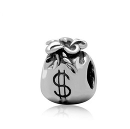 Wholesale Pandora Lucky Charm - European Silver Plated Big Hole Charms Spacer Loose Beads Fit Pandora Bracelets 925 Jewelry Lucky Money Bag for Sale Friends Girls Mom DIY