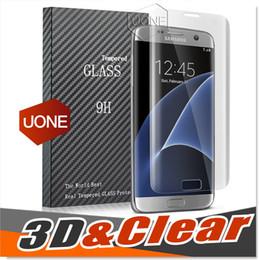 Protetor de tela s6 curva de borda on-line-Para Galaxy Note 7 S6 S7 borda Protetor de Tela Tela Cheia Armação de Borda de Proteção Samsung S6 borda de vidro Temperado 3D Curvo Completa Transparente