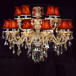 Wholesale Led Candle Lamp Shade - modern crystal chandelier Led lamps discount wholesale 15 lights Luxury led chandeliers fabric shades candle holder light