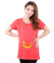 Wholesale Funny Pregnant Tee Shirts - 2016 New Halloween Tees Pumpkin Big Mouth Cotton T-shirt Long Tops Holiday Pregnant Woman Dress Funny Clothes Clothing Large Size Gifts