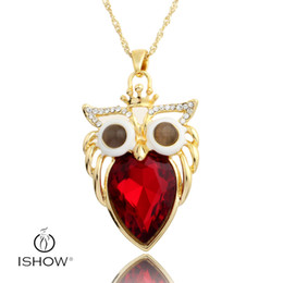 Wholesale Twist Eyes - Crown owl pendant necklaces Red women necklace 18K gold plated cat's eye Twisted Singapore Chain ewelry