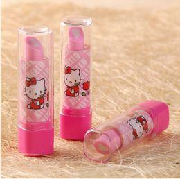 Wholesale Eraser Lipstick Rubber - Super cute creative lipstick sweet kitty rubber eraser funny cartoon children student girl gift toy stationery wholesale