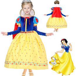Wholesale Wholesale Lace Long Sleeve Dresses - Children Girls Snow White Princess Dresses With Cape Kids Party Ball Gown Long Cosplay Dancewear Christmas Halloween Clothing HH-D03