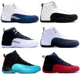 Botas francesas online-Nuevo 2018 12 XII zapatos de baloncesto hombres Juego de la gripe Francés azul TAXI Playoffs blanco Varsity rojo cereza Zapatillas Botas 8-13