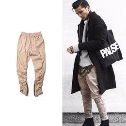 Wholesale Hot Men Sweatpants - HOT army Pants Casual Skinny Zipper botton Sweatpants Solid Hip Hop high street Trousers Pants Men Joggers Slimming pants