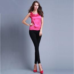 Wholesale Womens Silk Tops - Womens Summer Silk Tank Tops Ladies Blouses Mesh Cute Sleeveless Solid Color O Neck Casual Debardeur T Shirt Vest Tops Canotta