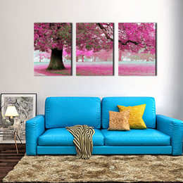 Wholesale trees flower floral painting - Canvas Print Wall Art Painting For Home Decor Purple Flowers At Tree 3 Pieces Panel Artwork The Picture For Living Room Decoration