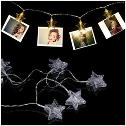 Wholesale Wholesale Led Lighted Pictures - Wholesale- LED Photo Clip String Light - 20 Photo Clips 10ft Elegant Star LED Picture Lights with 2 Modes (Warm White) (Battery Powered)