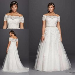 Wholesale Scalloped Strapless Wedding Dress - 2018 New Jewel Scalloped Sleeve Plus Size Wedding Dresses Lace Applique Off-shoulder Beaded Belt Country Boho Wedding Gowns Cheap 037