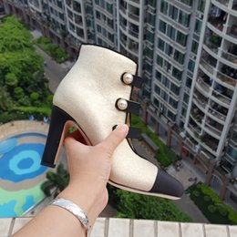 Wholesale Ankle Shop - Supply Drop Shopping New fashion women girls Ankle boots Pearl Button shoes top quality original Leather boots High Heel nude Boots 35 40