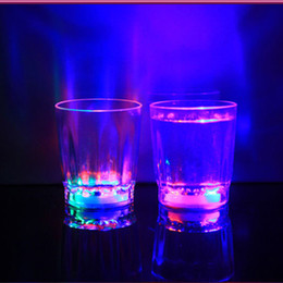 Wholesale Flash Shots - 20pcs Colorful Led Cup Flashing Shot Glass Led Plastic Luminous Cup Neon Cup Birthday Party Night Bar Wedding Beverage Wine flash small cup