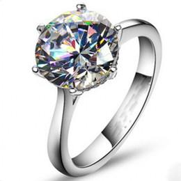 Banda de compromiso de diamantes online-Vecalon 2016 Marca Anillo de Solitario Femenino 4ct Diamante Simulado Cz 925 Anillo de Boda de Compromiso de Plata de ley para mujeres