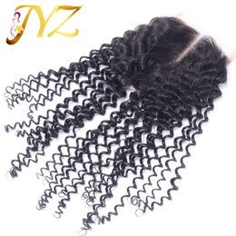 Wholesale Cheap Unprocessed Curly Human Hair - Top quality Cheap Unprocessed Brazilian Peruvian Malaysian Indian Human Kinky Curly Hair 4x4 Top Lace Closue 8-20inch