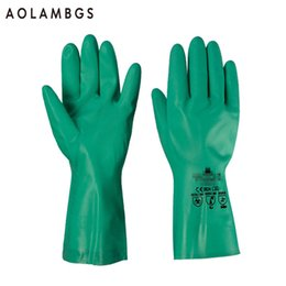 Wholesale Wholesale Solvent - Nitrile chemical gloves anti acid solvent paint job food cleaning working gloves straight type inner flocking 201801 12pairs lot