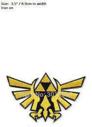 """Wholesale Favor Games - 3.5"""" Zelda Princess Triforce Gold Patch tv movie game series Embroidered Iron On Badge cosplay Halloween Costume party favor"""