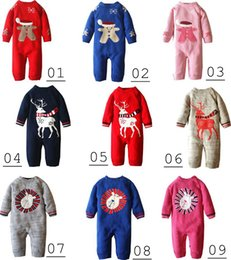 Wholesale Romper Thicken - Winter Baby Romper Boys Girls Jumpsuit 2016 Autumn coveralls Jersey Soft coral Christmas Deer Thicken Hooded Warm Clothes