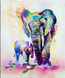 Wholesale Elephant Canvas Painting - Framed Elephant, Pure Hand Painted New Contemporary abstract Wall Decor Art Oil Painting On High Quality Canvas.Multi Sizes moore2012