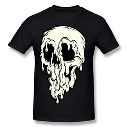 Wholesale Skull Top Plus Size - Halloween Horror Print T-Shirt Big Drippy Skull Men's Style Top 100% Cotton New Listed Men's Outdoor Sports Tops