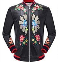 Wholesale Mens Long Coat Pattern - Wholesale-2017 New High Quality Fashion Black PU Embroidery Pilot Mens Leather Jacket Outwear Coat KL01 1201