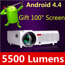 Wholesale Projection Lcd - LED WiFi Projector 3D Home Cinema Android 4.4 Bluetooth Projection 5500 Lumens Brightness Smart Multimedia LCD Video Games TV HDMI Proyector