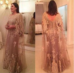 Высокая шея шампанское кружева плюс размер мать невесты платье бабочка рукава длина пола длинное платье партии от