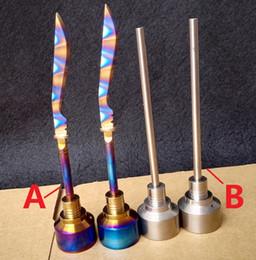 Wholesale titanium rainbow quartz wholesale - Rainbow Carb Cap Tool GR2 Titanium Ti Dabber 14mm 18mm VS Ceramic Nails Quartz Glass for water pipe Pong
