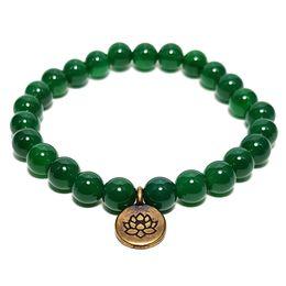 Wholesale Lotus Flower Bracelets - SN1105 Handmade Beaded Bracelet. Dark Green Aventurine Beads Antique Brass Lotus Flower Charm Gift for Him or Her
