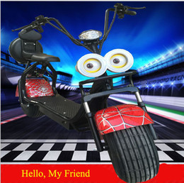 Wholesale Cheap Wheel Scooters - Citycoco Electric Scooter 2017 1000W Adult Cheap Intelligence Double Seats Cute Big Eye Headlight Super Newest Two-wheel